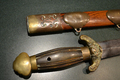 ANTIQUE ORIGINAL CHINESE JIAN SHORT SWORD C19th C CHINA QING DYNASTY CIRCA 1850