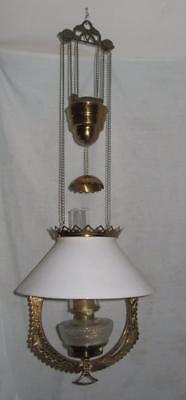 Hanging Oil Kerosene Parlor or Library Lamp, Complete, Polished, & Beautiful!