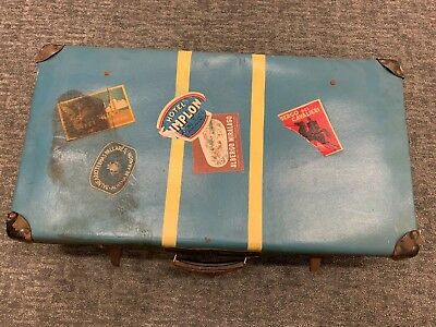 Vintage 1930s Blue Large Suitcase Storage with Travel Labels