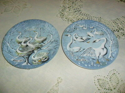 Six Geese a Laying & Seven Swans Plates  Limoges, Haviland R H'etreau 1975 1976