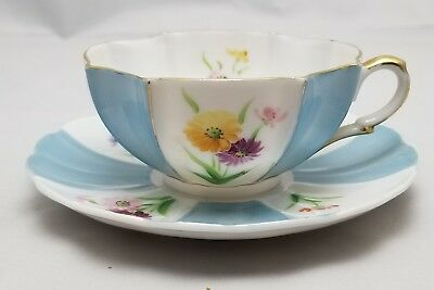 Vintage MK Hand Painted Bone China Scalloped Tea Cup & Saucer Made in Japan