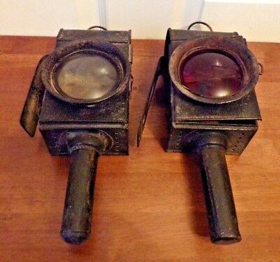 Pair Of Vintage Victorian Carriage/Coach Candle Lamps.front & rear