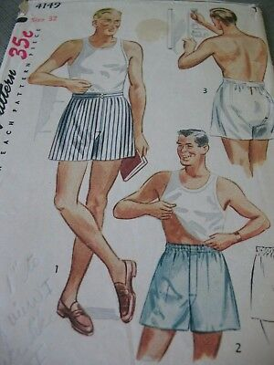 VINTAGE SEWING PATTERN Simplicity 40's-50's MEN'S BOXER SHORTS Soft Pleats SZ 32