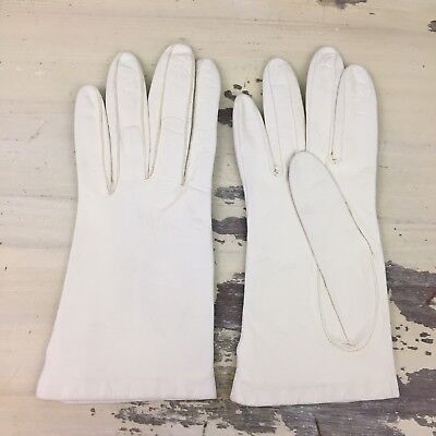 MISS ARIS - Vtg 50s-60s White Leather Acrylic Lined Winter Gloves, Womens 7