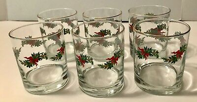 6 Vintage  Libbey Holly Berry Gold Rim High Ball Christmas Glasses