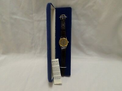 Vintage Planters Mr. Peanut Gold Watch, Brown Band  New Products Co.  New