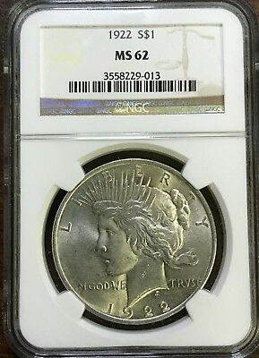 1922 Peace Silver Dollar - NGC MS62 - BRILLIANT UNCIRCULATED - #229-013