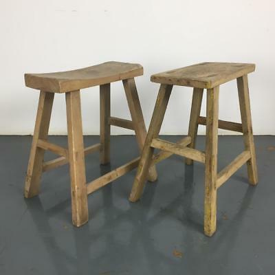 Pair Of Vintage Rustic Antique Wooden Stools Milking Large P218