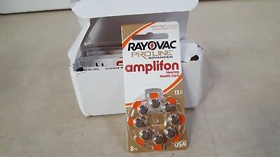 Lot of 80 - Rayovac Mercury Free Proline Advanced Size 13 Hearing Aid Batteries