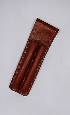 Genuine Argentine Leather Pen Holder 2 Pens Pouch - Light Brown