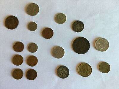 World Foreign Coins Lot of 18 Dated 1862-1990  From 11 Countries, Circulated