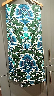 Mid Century Vintage Retro Curtains Floral Blue Turquoise Green