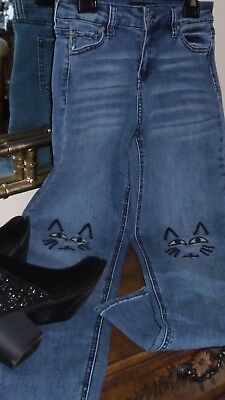 Girls SZ 14 Skinny Jeans Celebrity Pink Brand Embroidered Cat knees Cute! Cute!