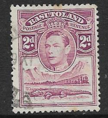 BASUTOLAND - USED KGV1 DEFINITIVE STAMP 1938 - KGV1 & NILE CROCODILE- -2d