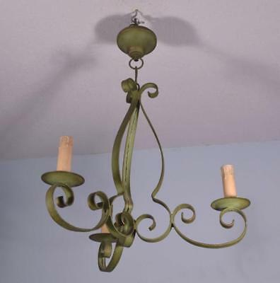 *Antique French Wrought Iron Chandelier Hanging Lamp