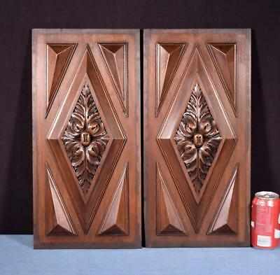 *Pair of Antique French Highly Carved Panels in Walnut Wood Salvage