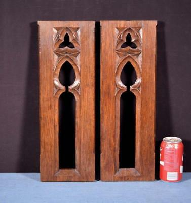 *Pair of French Antique Gothic Revival Panels in Oak Wood Salvage