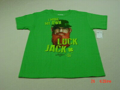 Duck Dynasty Boys T Shirts Uncle Si I Make My Own Luck Jack Si On Front Green