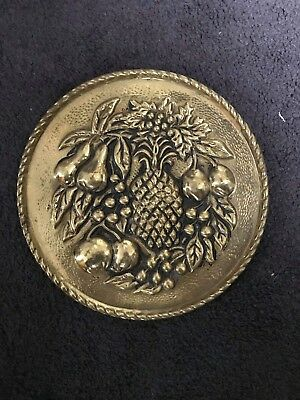 Vintage Antique Peerage Brass Wall Plate Decor Fruit Made In