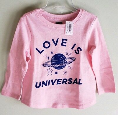 NEW Old Navy Girls 18-24 MONTHS Long Sleeve LOVE IS UNIVERSAL Tee PINK Shirt