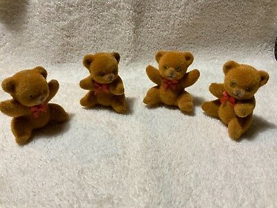 "4 Vintage Flocked Teddy Bears 1984  Medium Golden Brown      2 1/4""  Inches Tall"