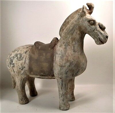 Genuine antique Han Dynasty 206 BC–220 AD painted pottery horse 34cm L 31cm H