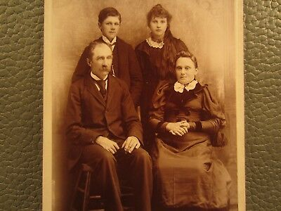Victorian Antique Cabinet Card Family Photo Father Mother Children