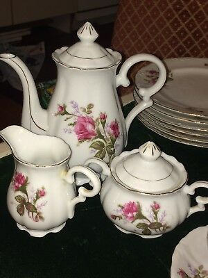 Vintage Royal Seal Of Japan Moss Rose China Complete Tea Set Service for 6 Plus