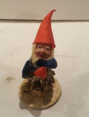 Vtg West Germany Pine Cone Santa Elf Elves Gnomes Spun Cotton