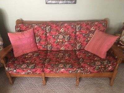 1950's Mid Century Modern Wood Maple Sofa and Chair