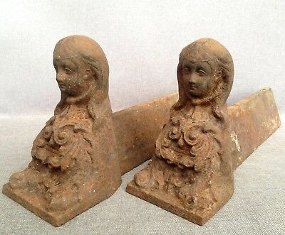 Antique pair of andirons France made of cast iron 19th century fireplace women