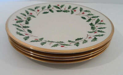 Set of  4 Lenox Holiday China Salad Plates Gold Trim New with Tags