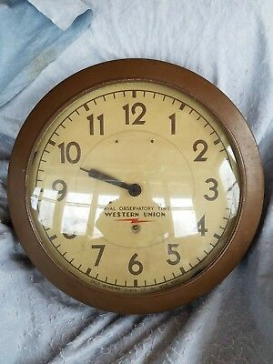"Large 20"" NAVAL OBSERVATORY TIME Self Winding Clock Western Union as-is parts"