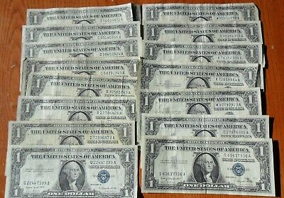 Lot of (15) Series 1957 $1 One Dollar SILVER Certificates