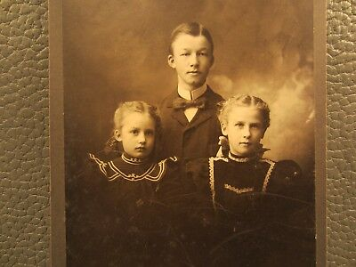 Victorian Antique Cabinet Card Photo of Three Children, Kids, Brother and Sister