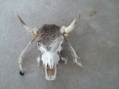 Beautiful Steer Skull Decorated with Fur, Feathers, Beads