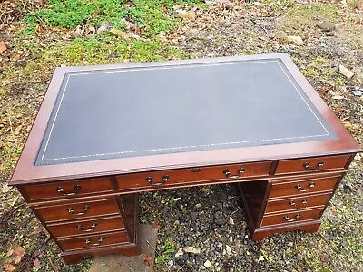 Large Antique Style Solid Mahogany Twin Pedestal Leather Top Writing Desk draws