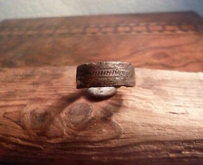 Early Medieval Anglo Saxon Decorated Band Ring-Metal Detecting Find