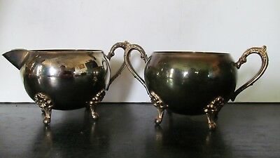 Vintage Gold Plated 4 Footed Sugar And Creamer Set