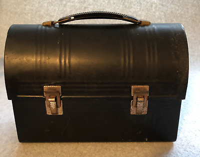 Vintage Black Metal Lunch Box for Work, School or Antique Display, Dome Top