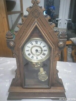 Antique Gingerbread Wooden Victorian Mantel Clock Hand Carved With Key 1879