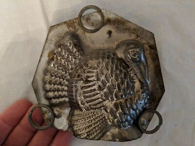 Vintage TURKEY Thanksgiving Tin Metal Chocolate Candy Mold