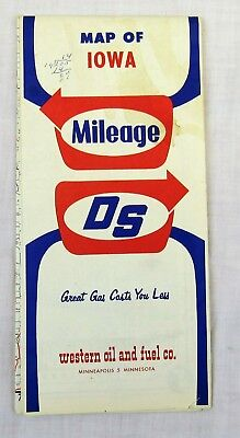 1960s Western Oil and Fuel co road Map Iowa vintage travel advertising