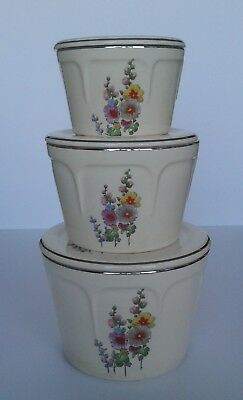 Universal Potteries Mount Vernon 6 pc Refrigerator Set  Hollyhocks