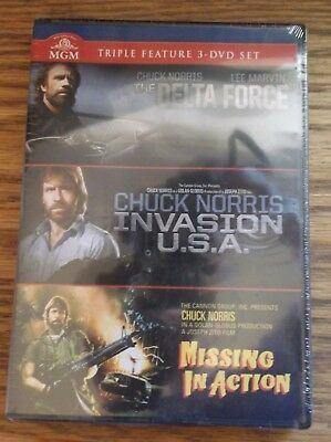 Chuck Norris Triple Feature 3 DVD Set New Invasion USA/ Delta Force/ Missing In