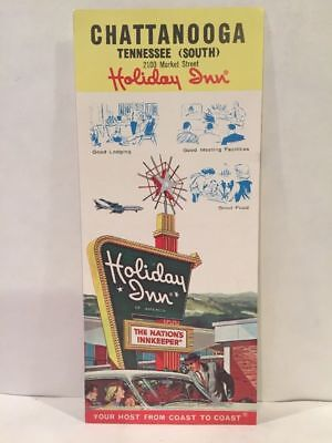 1960s VINTAGE HOLIDAY INN CHATTANOOGA TN Hotel Motel Travel Brochure & Map