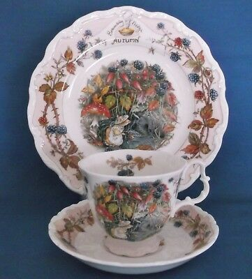 Royal Doulton Brambly Hedge Autumn Cup Saucer Plate Trio Four Seasons Full Size