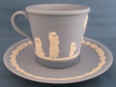 Wedgwood Jasperware Brewster Blue Cup & Saucer Event Piece Made In England Rare