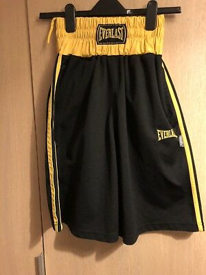 Mens Everlast Boxing Shorts Black/yellow Size Small