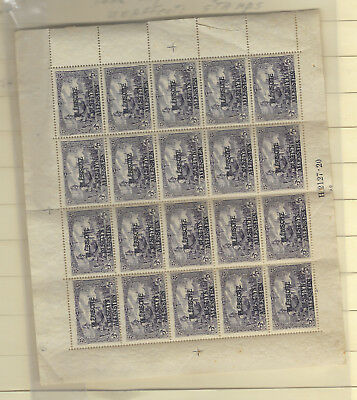Allenstein Sheet of 20 Scott  #14 Gum Bend LL Corner affects 4 stamps